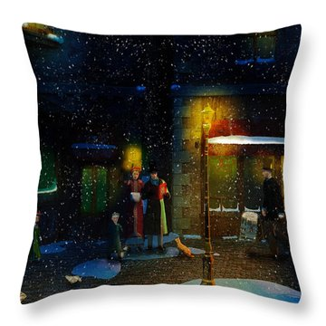 Old Town Christmas Eve Throw Pillow by Ken Morris