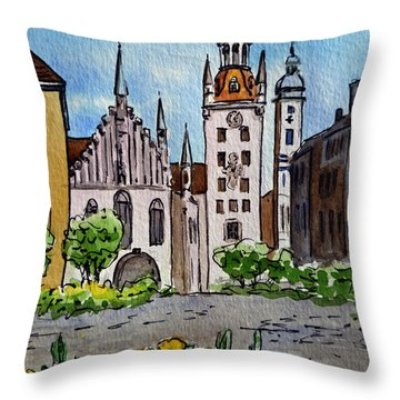Old Town Hall Munich Germany Throw Pillow by Irina Sztukowski