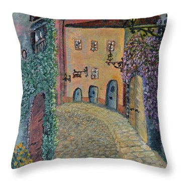 Throw Pillow featuring the painting Old Town In Piedmont by Felicia Tica