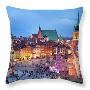 Old Town In Warsaw At Night Throw Pillow
