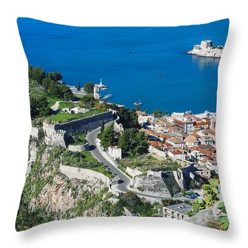 Old Town Nafplio And Ruins Throw Pillow