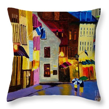 Throw Pillow featuring the painting Old Towne Quebec by Rodney Campbell