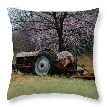 Old Tractor And Redbuds Throw Pillow