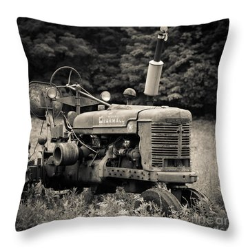 Old Tractor Black And White Square Throw Pillow by Edward Fielding