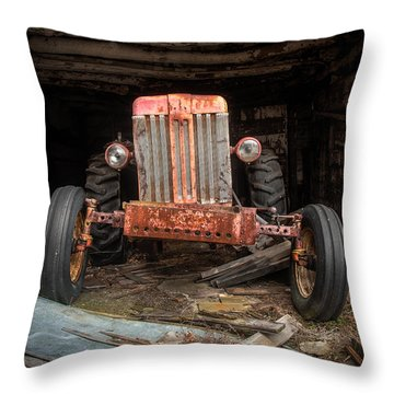 Old Tractor Face Throw Pillow