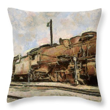 Throw Pillow featuring the painting Old Train by Georgi Dimitrov