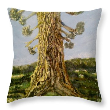 Old Tree In Spring Light Throw Pillow