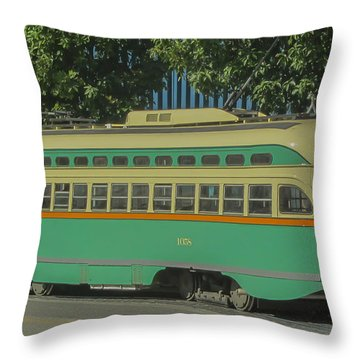 Old Trolley Car Throw Pillow