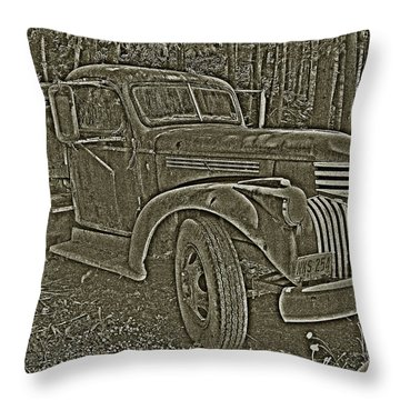 Throw Pillow featuring the photograph Old Truck In Sepia by Betty Depee
