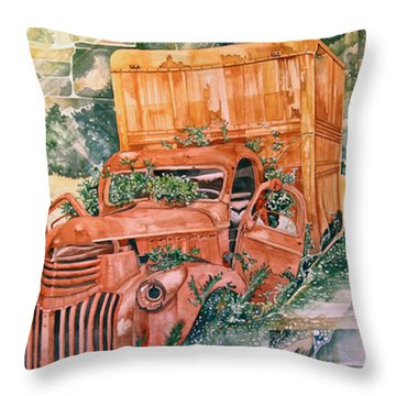 Old Truck Throw Pillow by Lance Wurst