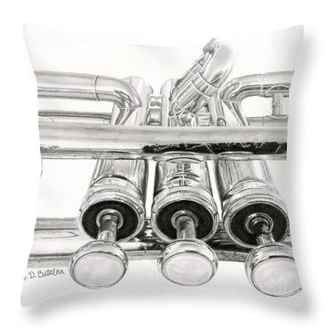 Old Trumpet Valves Throw Pillow