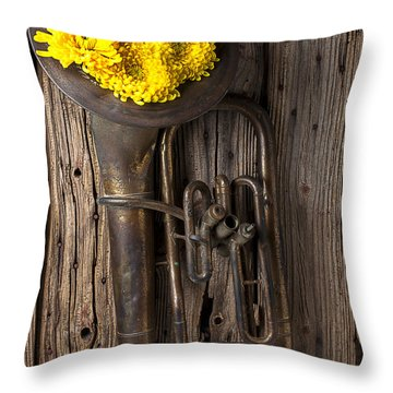 Old Tuba And Yellow Mums Throw Pillow by Garry Gay