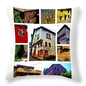 Old Turkish Houses Throw Pillow by Zafer Gurel