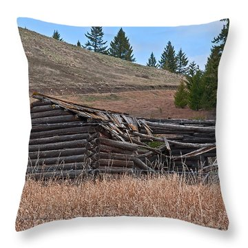 Old Turn Of The Century Log Cabin Homestead Art Prints Throw Pillow by Valerie Garner