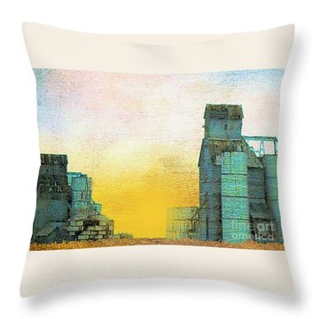 Old Used Grain Elevator Throw Pillow