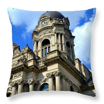 Old Vanderburgh County Courthouse Throw Pillow by Deena Stoddard