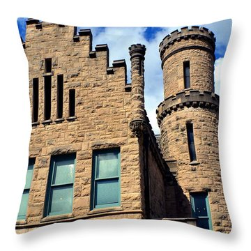 Old Vanderburgh County Jail Throw Pillow by Deena Stoddard