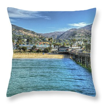 Old Ventura City From The Pier Throw Pillow by David Zanzinger