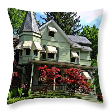 Throw Pillow featuring the photograph Old Victorian With Awnings by Becky Lupe