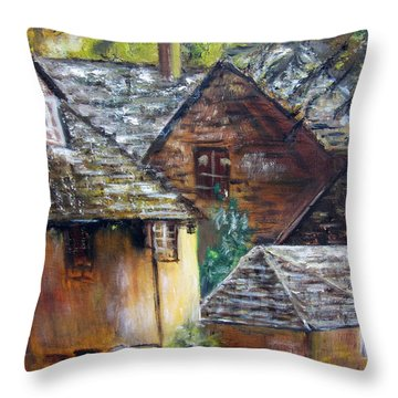 Old Village Throw Pillow