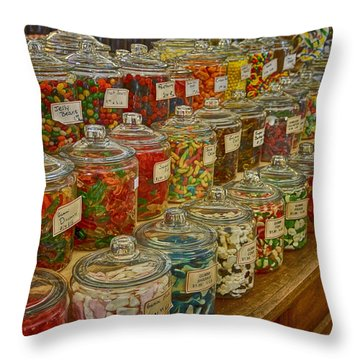 Old Village Mercantile Caledonia Mo Candy Jars Dsc04014 Throw Pillow