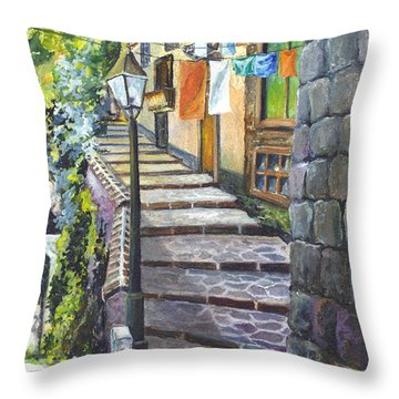 Old Village Stairs - In Tuscany Italy Throw Pillow