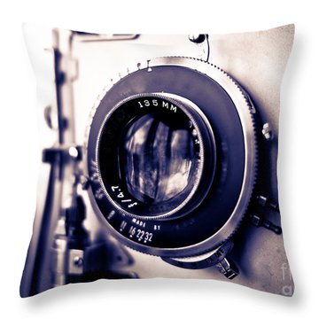Old Vintage Press Camera  Throw Pillow by Edward Fielding