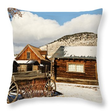 Throw Pillow featuring the photograph Old Wagon And Ghost Town Buildings by Sue Smith
