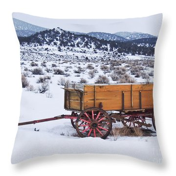 Old Wagon In Snow Throw Pillow