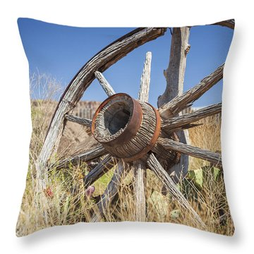 Throw Pillow featuring the photograph Old Wagon Wheel by Bryan Mullennix