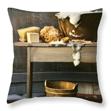 Old Wash Tub With Soap And Scrub Brushes Throw Pillow by Sandra Cunningham