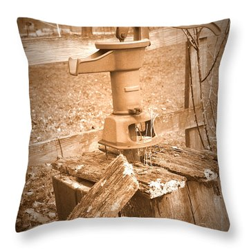 Old Water Pump Sepia Throw Pillow