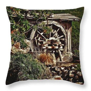 Throw Pillow featuring the photograph Old Water Wheel by Elaine Malott