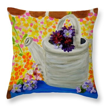 Old Watering Can Throw Pillow by Celeste Manning