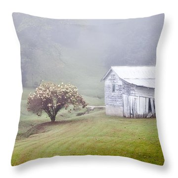 Old Weathered Wooden Barn In Morning Mist Throw Pillow