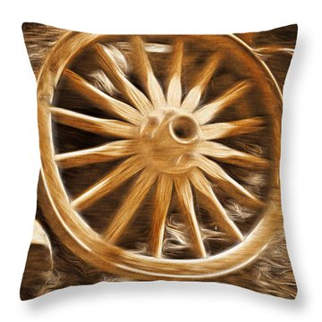 Aaron Berg Photography Throw Pillow featuring the photograph Wheels West by Aaron Berg