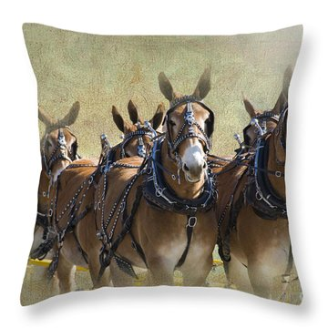 Old West Mule Train Throw Pillow