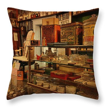 Old Western General Store Counter Throw Pillow by Janice Rae Pariza