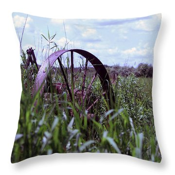 Old Wheel  Throw Pillow by Joann Copeland-Paul