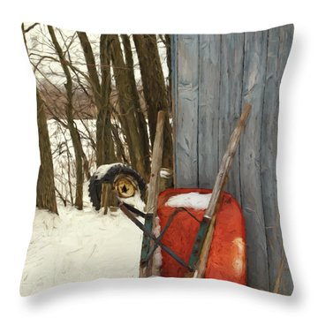 Throw Pillow featuring the photograph Old Wheelbarrow Leaning Against Barn/ Digital Painting by Sandra Cunningham