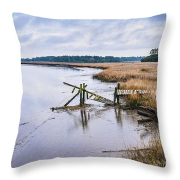 Old Wimbee Landing Dock Throw Pillow