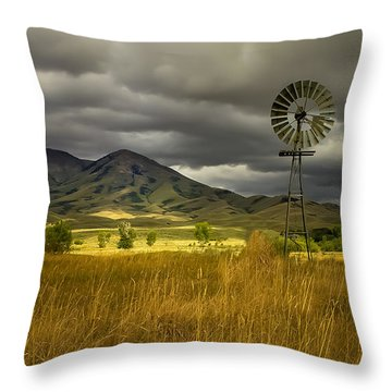Old Windmill Throw Pillow by Robert Bales