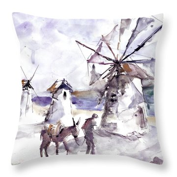 Old Windmills At Bodrum Throw Pillow