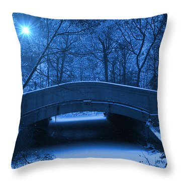 Old Winter Bridge Throw Pillow