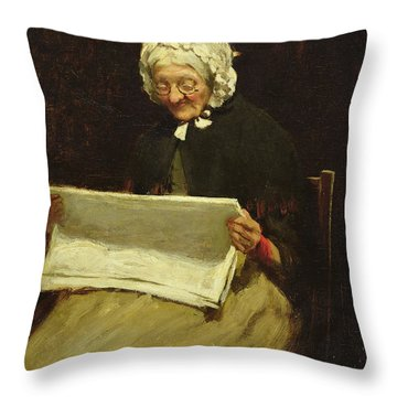 Old Woman Reading A Newspaper, 1895 Throw Pillow