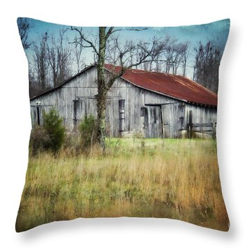 Old Wooden Barn Throw Pillow by Betty LaRue