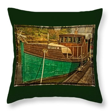 Old Wooden Boat On The Yaquina Throw Pillow