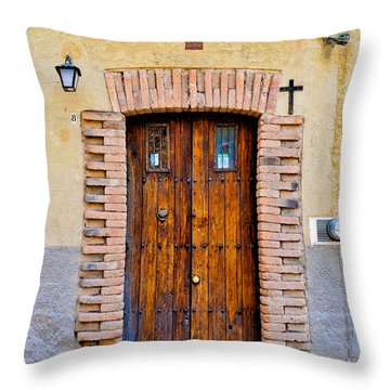 Old Wooden Door - Mexico - Photograph By David Perry Lawrence Throw Pillow