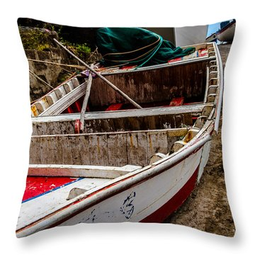 Old Wooden Fishing Boat On Dock  Throw Pillow