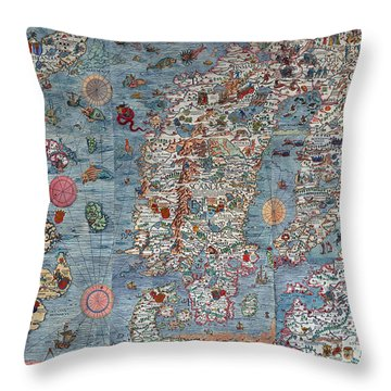 Old World Art Map  Throw Pillow by Inspired Nature Photography Fine Art Photography
